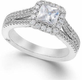 Marchesa Celeste Halo by Certified Princess Cut Diamond Engagement Ring (1-1/5 ct. t.w.) in 18k White, Yellow or Rose Gold, Created for Macy's