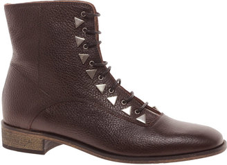 New Kid Penny Dreamcore Stud Burgundy Lace Up Ankle Boots