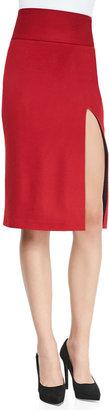 Alice + Olivia Tani Front-Slit Knit Pencil Skirt