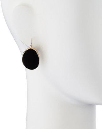 Kenneth Jay Lane Flat Oval Hanging Earrings, Black