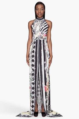 Balmain White and black printed Silk Long Dress