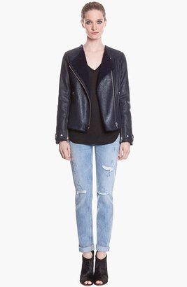 Sandro 'Variation' Leather & Genuine Shearling Jacket