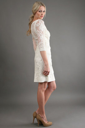 Sue Wong Long Sleeve Dress in Ivory