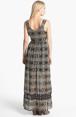 Mimichica Mimi Chica Lace Inset Print Maxi Dress (Juniors)