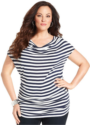 INC International Concepts Plus Size Top, Short-Sleeve Striped Drape-Neck