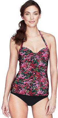 Lands' End Women's Regular D-cup Seaside Gardens Watercolor Floral Halter Tankini Top