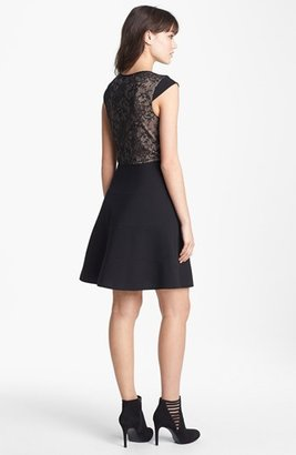 Betsey Johnson Lace Inset Fit & Flare Dress (Online Only)
