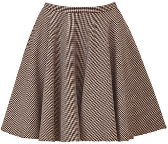 McQ Claret/Brown Houndstooth Swing Skirt
