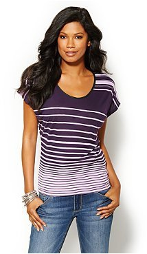 New York & Co. Faux-Leather Trim Striped Tee