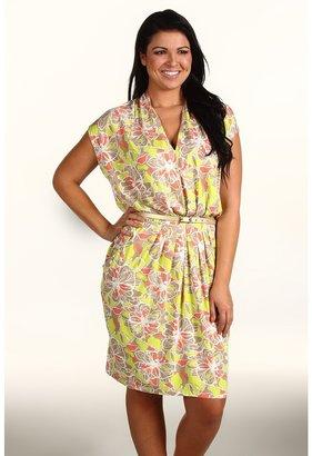Klein Plus Anne Plus Size Floral Print Dress (Lime Sorbet Multi) - Apparel