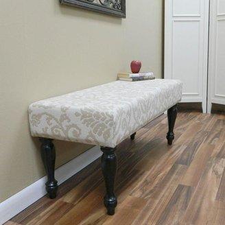 Carolina Cottage Lascada Sand Romance Wood Bench Upholstered with Antique Black Turned Legs