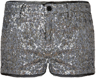 Zadig & Voltaire Silver Allover Sequined Primo Shorts