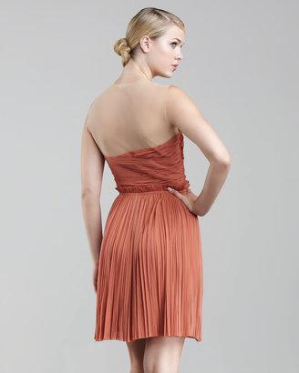 J. Mendel Ruched Chiffon Cocktail Dress, Desert
