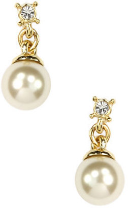 Anne Klein Gold-Plated Crystal & Faux Pearl Drop Earrings