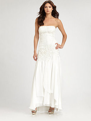 Sue Wong Strapless Embroidered Gown