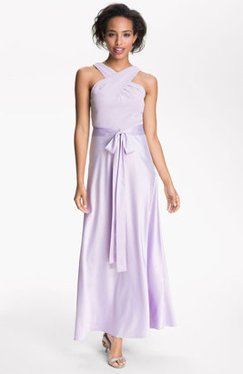 Donna Morgan Cross Strap Chiffon & Charmeuse Gown