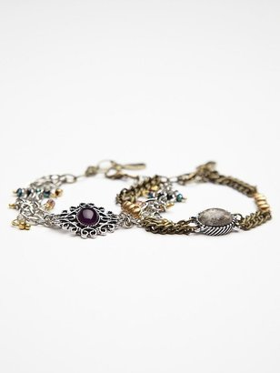 Free People Stone and Mixed Chain Double Bracelet