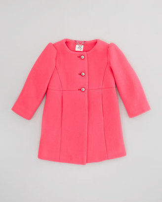 Milly Minis Tweed Puff-Sleeve Coat, Coral, Sizes 2-6