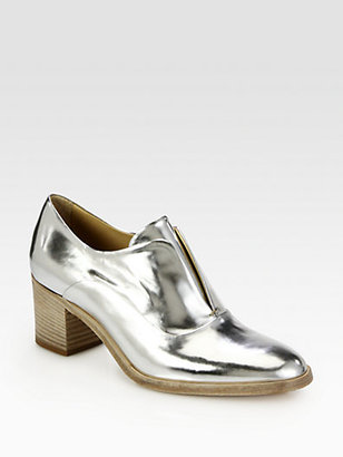 Reed Krakoff Specchio Metallic Leather Laceless Oxford Pumps