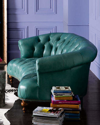 """Old Hickory Tannery Turquoise Leather Tufted Sofa 71"""""""