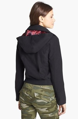 Dollhouse Hooded Knit Bomber Jacket (Juniors) (Online Only)