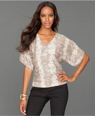 INC International Concepts Petite Sweater, Dolman-Sleeve Snakeskin-Print Sequin