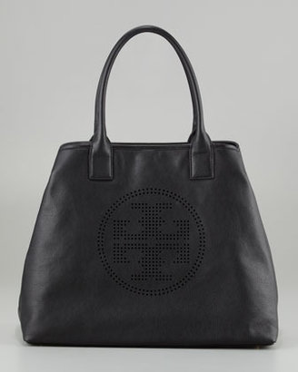 Tory Burch Perforated Logo Leather Tote Bag, Black
