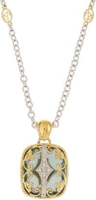 Delatori Blue Topaz Pendant Necklace
