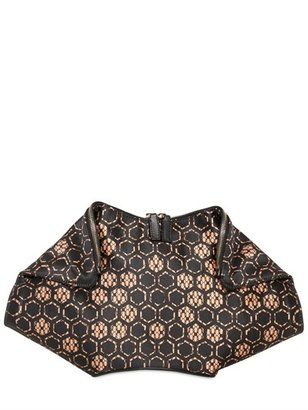 Alexander McQueen Printed Silk Satin Demanta Clutch