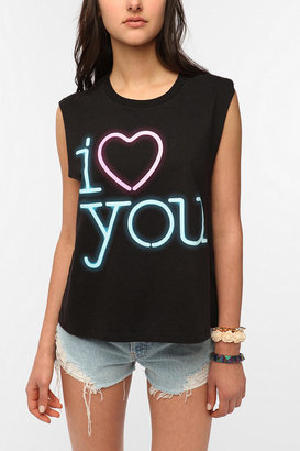 Urban Outfitters I Love You Neon Muscle Tee
