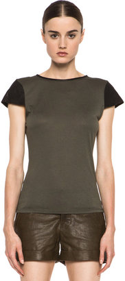 Alice + Olivia Fitted Viscose Tee with Leather in Old Army