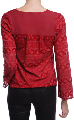 Language Embroidered Long Sleeve Top