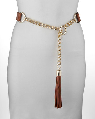 Suzi Roher Chain-Leather Tassel Belt, Rust