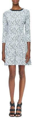 Ali Ro Printed 3/4-Sleeve Knit Dress