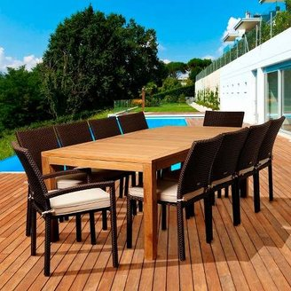 Amazonia Coral 11-Piece Teak/Wicker Rectangular Patio Dining Furniture Set