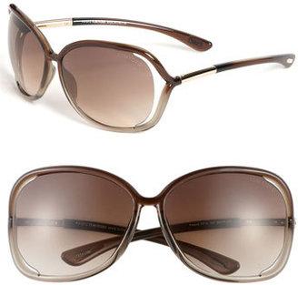 Women's Tom Ford 'Raquel' 63Mm Oversized Open Side Sunglasses - Transparent Bronze $415 thestylecure.com