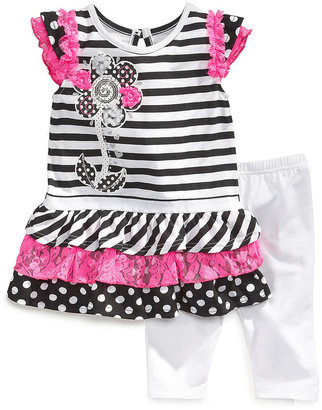 Nannette Baby Girls' 2-Piece Striped Tunic & Solid Leggings Set