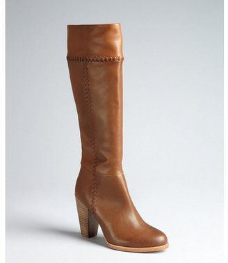 Joie light brown whip stitch leather 'Allman' stacked heel boots