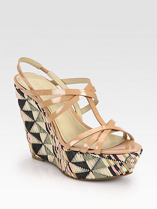 Vera Wang Tavie Patent Leather & Raffia Wedge Sandals