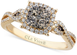 Le Vian Chocolate (3/8 ct. t.w.) and White (1/3 ct. t.w.) Diamond Braided Ring in 14k Gold $3,600 thestylecure.com