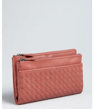 Bottega Veneta brick intrecciato leather double zip wallet