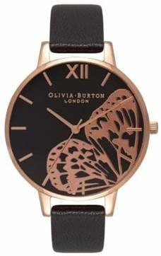Olivia Burton Analog Big Dial Rose-Goldtone Leather Strap Watch