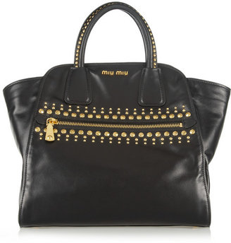 Miu Miu Studded leather trapeze bag