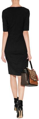 Diane von Furstenberg Leather/Haircalf Highline Courier Bag in Leopard/Black