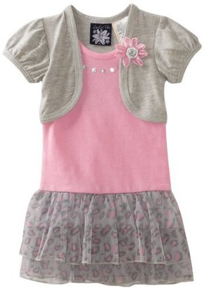 So La Vita Girls 2-6X Toddler Leopard Flower Dress With Hot Fixed Stones