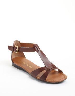 Franco Sarto Gracy Leather T-Strap Sandals