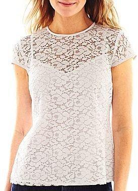 Liz Claiborne Cap-Sleeve Lace Top