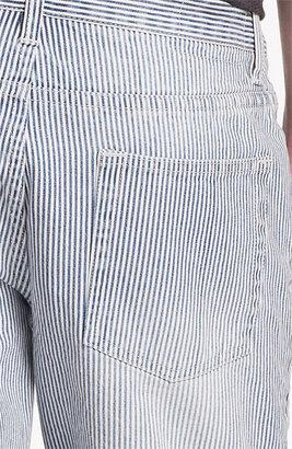 Topman Slim Fit Stripe Denim Shorts Denim 36