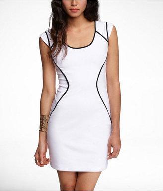 Express Contrast Seam Ponte Knit Sheath Dress