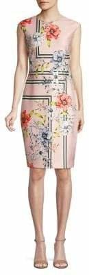 Vince Camuto Floral Cap-Sleeve Sheath Dress
